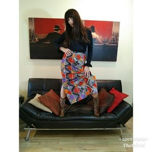 70s print maxi skirt with matching shirt